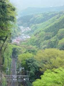 大山ケーブルカーの大山寺駅から見た下側の「コマ参道」の集落。ケーブルカーの急な線路も見える