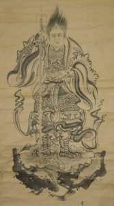 掛け軸に描かれた武神像。右手に戟(げき・武具のほこ)、左手に菓子鉢を持つ