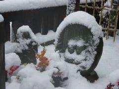 13  南区上鶴間本町 雪に埋もれた道祖神碑(1月14日午後)