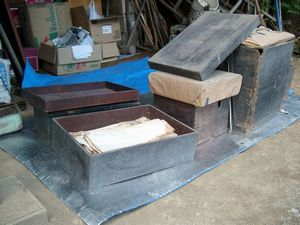 未調査資料の入った木箱